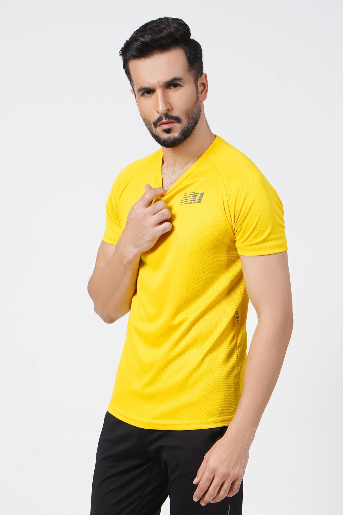 Micro Mesh Men's Yellow T-Shirt - F